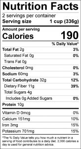 Creole Beans Food Nutrition Facts Label (click for details)
