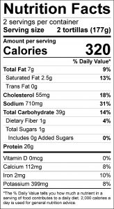 Pork Fajitas Food Nutrition Facts Label (click for details)