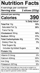 Quick Pizza Food Nutrition Facts Label (click for details)