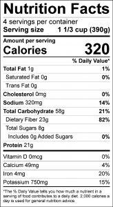 Split Pea Soup Food Nutrition Facts Label (click for details)