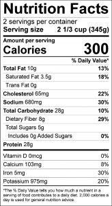 Taco Salad Food Nutrition Facts Label (click for details)