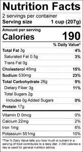 Turkey Potato Salad Food Nutrition Facts Label (click for details)