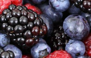 blueberries, strawberries, blackberries