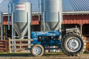 tractor, silos, farm