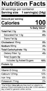 Applesauce Cookies Food Nutrition Facts Label: Click on this image for complete nutrition information.