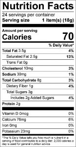 Coconut Dreams Food Nutrition Facts Label: Click on this image for complete nutrition information.