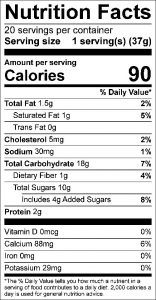 Cranberry Fruit Bar Food Nutrition Facts Label: Click on this image for complete nutrition information.