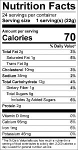 Oatmeal Raisin Cookies Food Nutrition Facts Label: Click on this image for complete nutrition information.