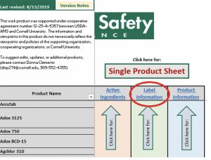 Screenshot of Produce Safety Alliance chart showing label information