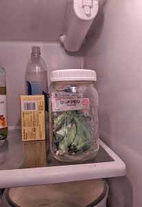 seeds stored in a jar in the refrigerator