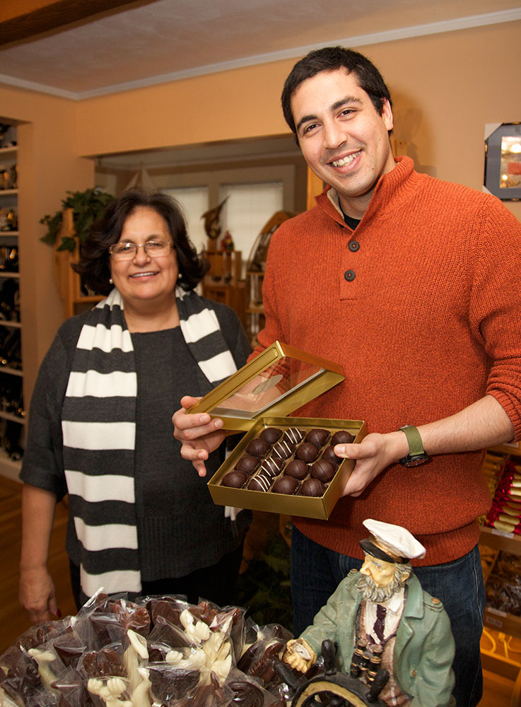 Employee and owner of Monica's Chocolates, small business in Lubec, Maine
