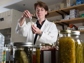 Beth Calder in food science lab