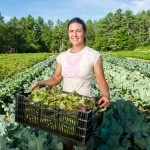 woman farmer with lettuce