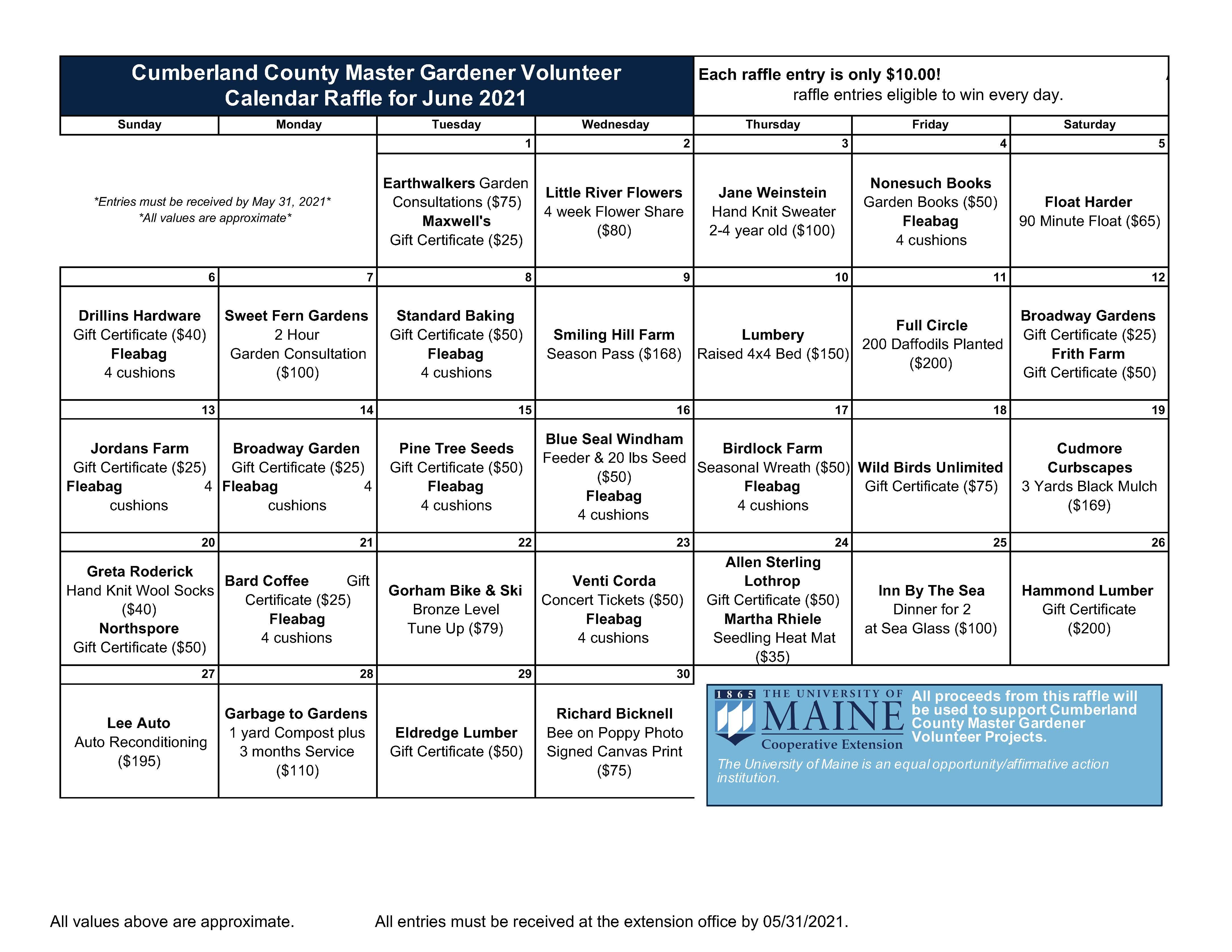 image of 2021 raffle calendar