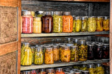 Image of canned goods in a root cellar