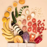 Fruits and vegetables spilling out of grocery bag