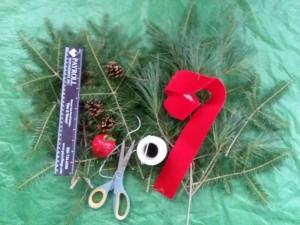 Ruler, Tape, Ribbon, Scissors and Pine