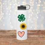 Water bottle with stickers on it