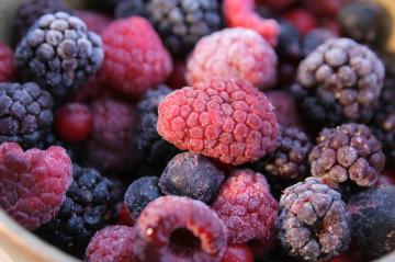 close up of frozen raspberries, blackberries, and blueberries