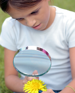 girl studies a flower with a magnifying lens