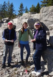 Researcher Natasha Krell and volunteers on Deer Isle