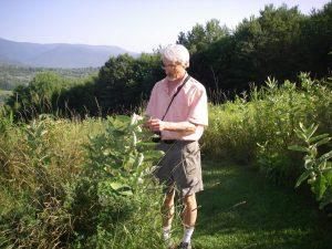 Jerry Schoen observing milkweed.