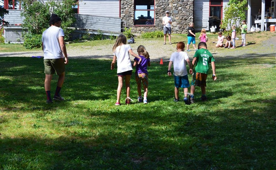 Day campers three legged race