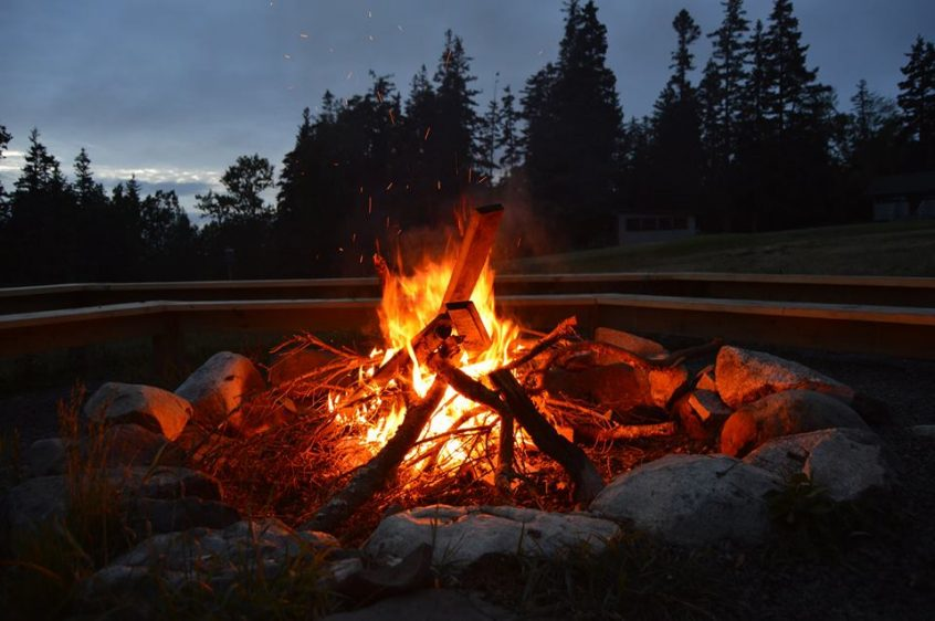 a fire crackling at night