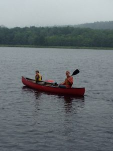 campers canoeing on Pitcher Pond