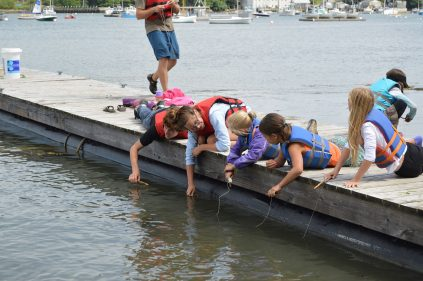 campers and camp counselor on dock learning about marine ecology