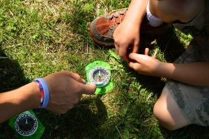 campers learn how to use a compass