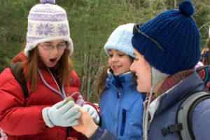 campers dressed for the cold make a discovery during a winter program