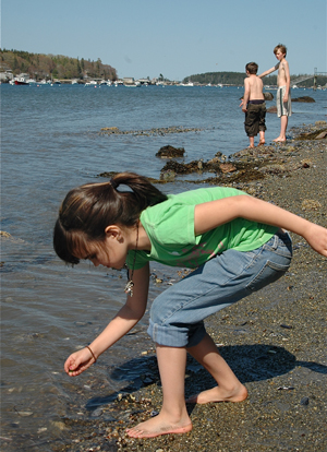 girl exploring the shoreline at Blueberry Cove