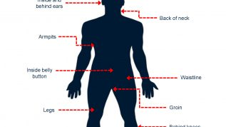 Illustration showing where to check for ticks on a person: In and around the hair, inside and behind ears, back of neck, armpits, inside belly button, waistline, groin, legs, behind knees, and between toes