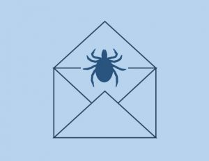 Drawing of a tick in an envelope