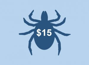 Silhouette of a tick with $15 overlaid