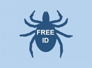 Silhouette of a tick with Free ID overlaid