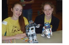Participants of the 2012 4-H Robotics Expo display and answer questions about their robots.
