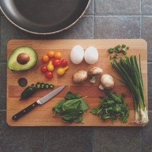 Cutting board with nutritious foods