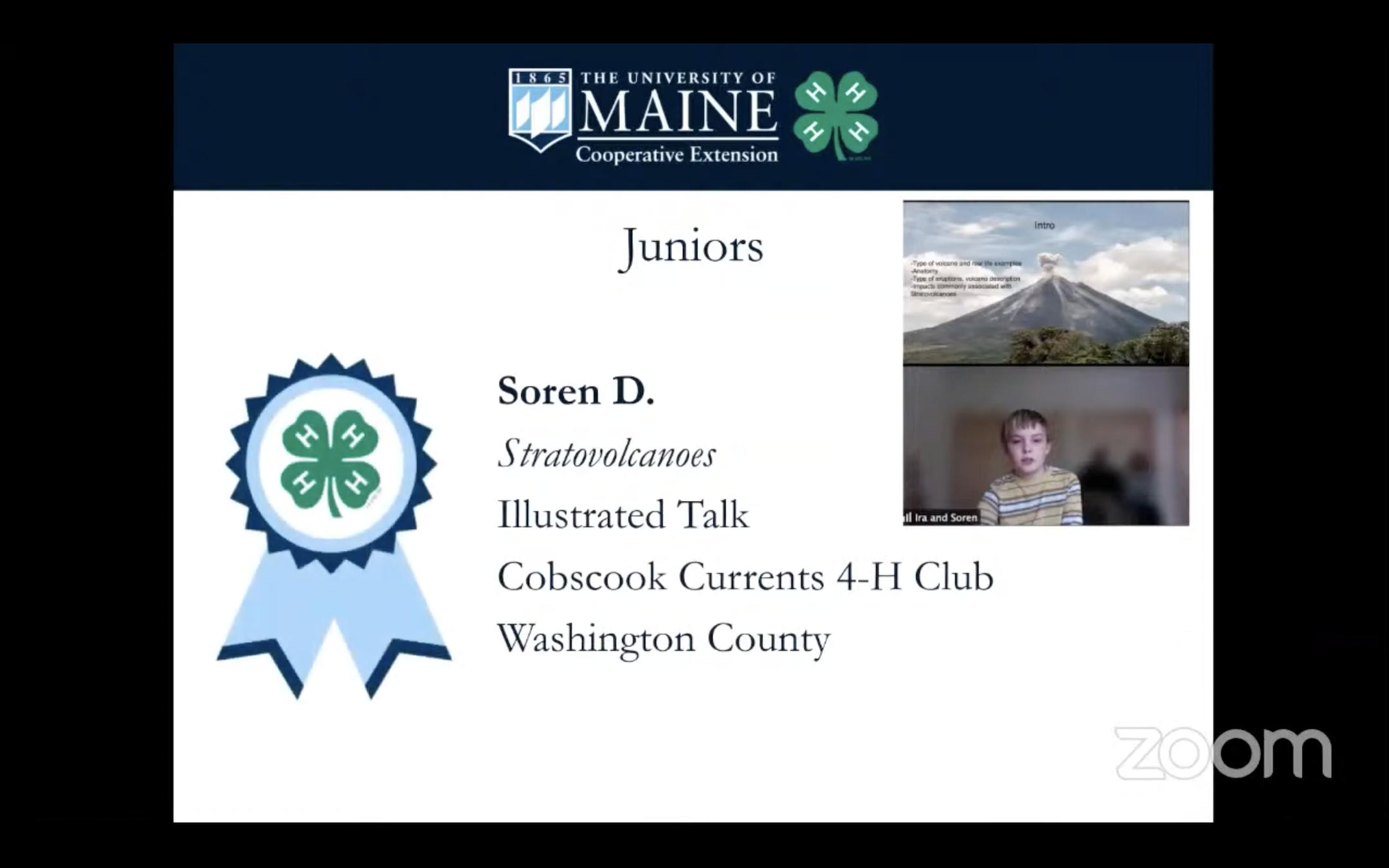 Soren's Award Slide from 4-H Public Speaking Tournament
