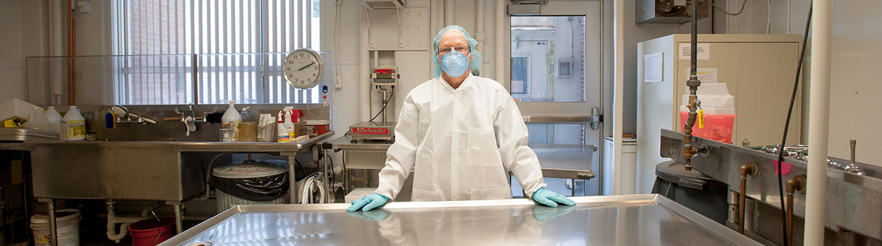 Dr. Anne Lichtenwalner dressed to perform a necropsy in the Animal Health Lab