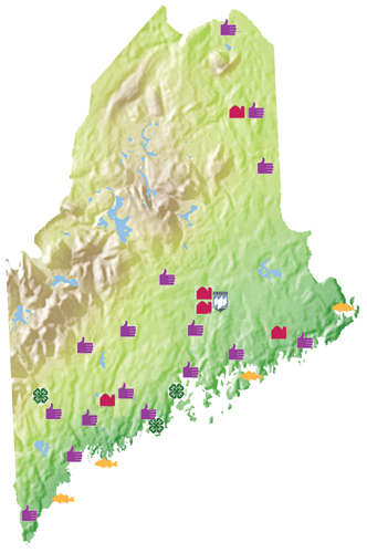 map of Maine showing office locations