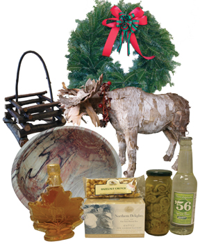 non-timber forest products: Balsam wreathe, birchbark moose, maple syrup, bowl, twig basket, canned fiddleheads, spruce beer, tea, hazelnut crunch snack