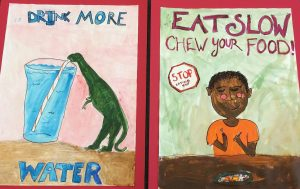 Healthy eating posters made by kids in Food Corps