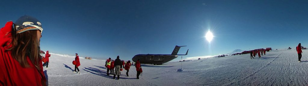 Lynn and other researchers at the landing field in Antarctica