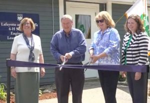 ribbon cutting ceremony at the new Lafayette and Rawcliffe 4-H Center