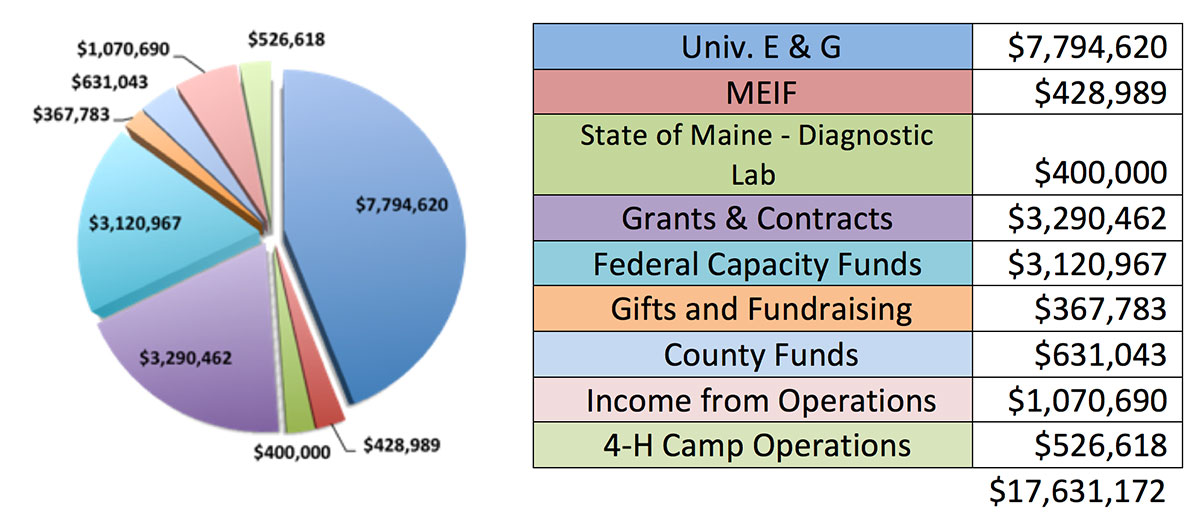 Piechart showing funding sources: Univ. E & G = $7,794,620; MEIF = $428,989; State of Maine - Diagnostic Lab = $400,000; Grants & Contracts = $3,290,462; Federal Capacity Funds = $3,120,967; Gifts and Fundraising = $367,783; County Funds = $631,043; Income from Operations = $1,070,690; 4-H Camp Operations = $526,618; total = $17,631,172