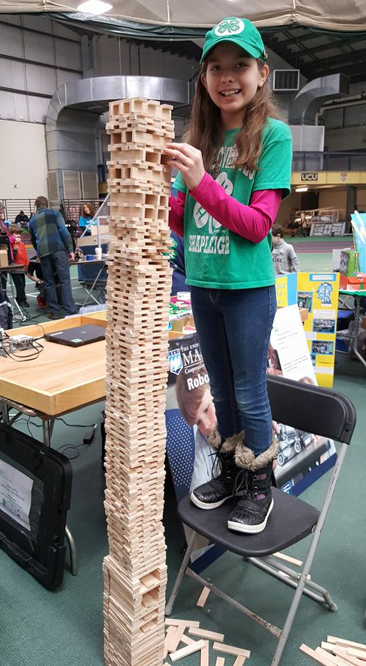 4-Leaf Clover 4-H Club member building a tower at Club members attended the Engineering Expo at the University of Southern Maine in Gorham