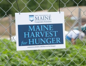 Maine Harvest for Hunger sign